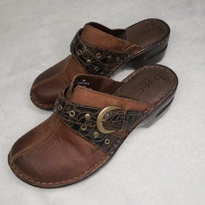 Born of Concept BOC Leather Brown Clogs Size 7